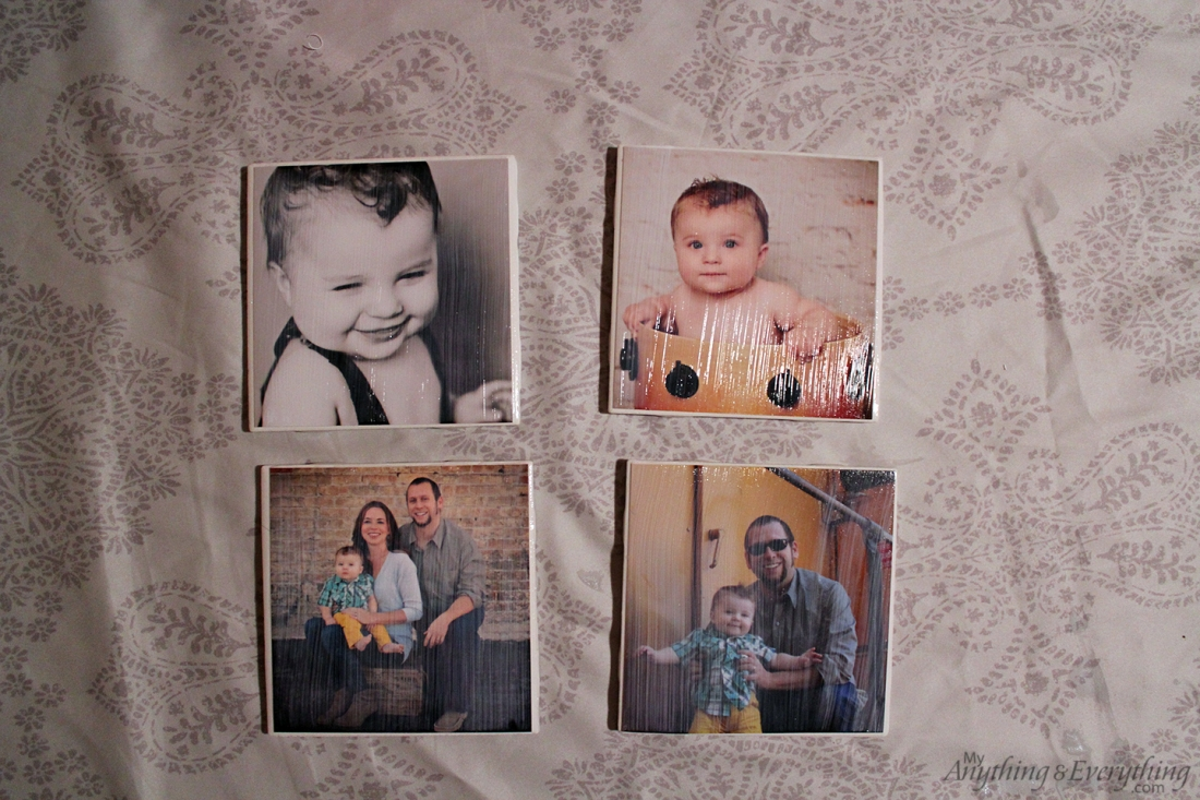 DIY Photo Tile Coasters drying