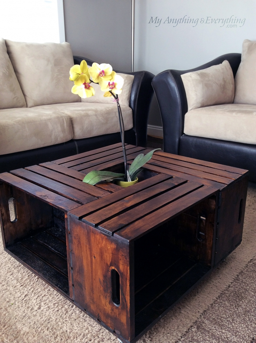 Crate coffee table anything everythinganything for How to make a coffee table out of crates