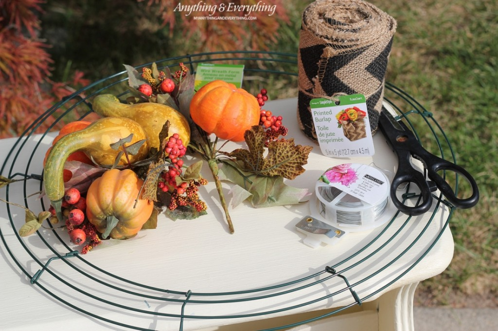 Fall Burlap Wreath supplies