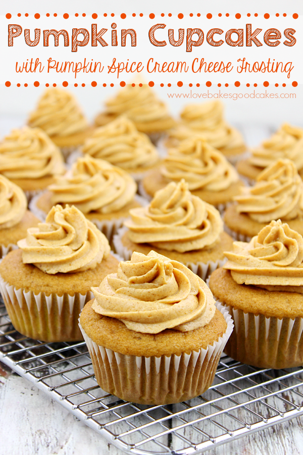 Pumpkin Cupcakes with pumpkin spice cream cheese frosting – Love ...