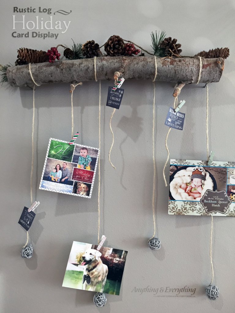 Rustic Log Holiday Card Display