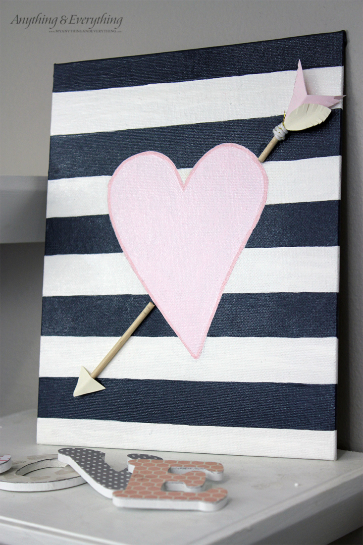 Painted Valentine Canvas with Ornamental Arrow