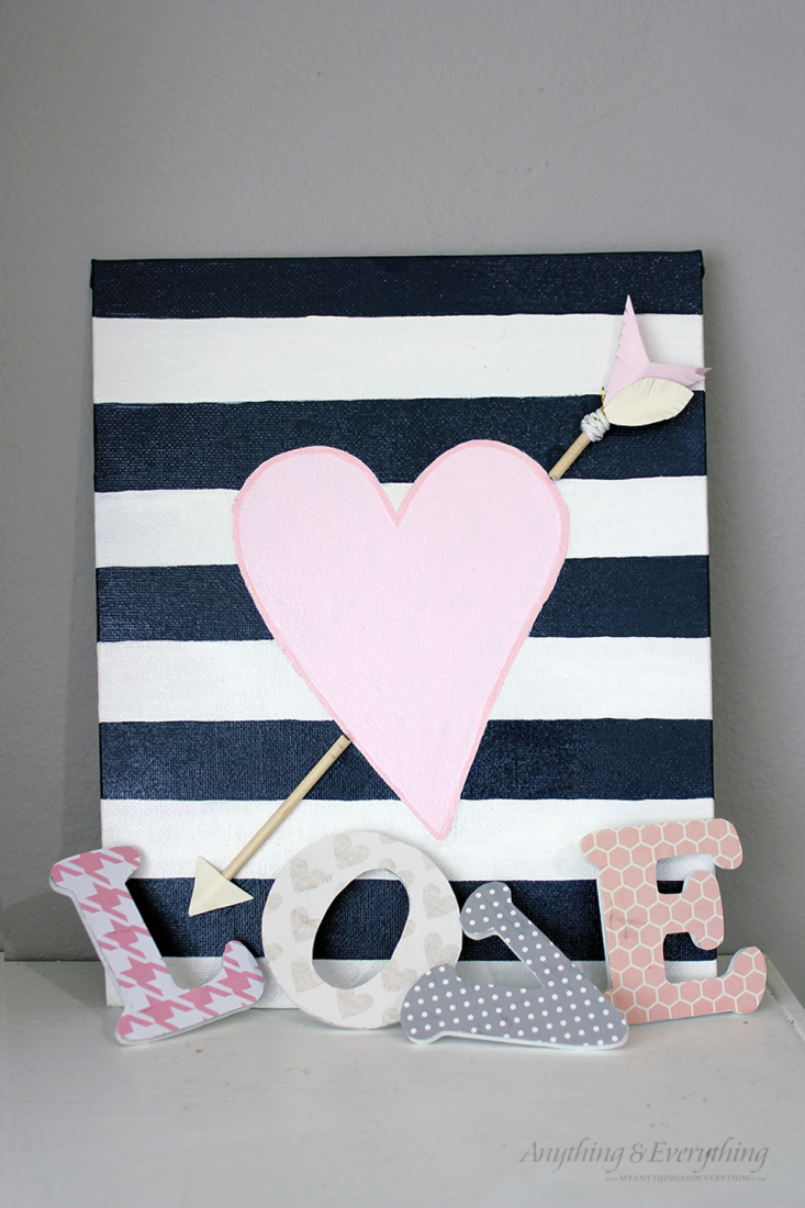 Painted Valentines Decor with Ornamental Arrow