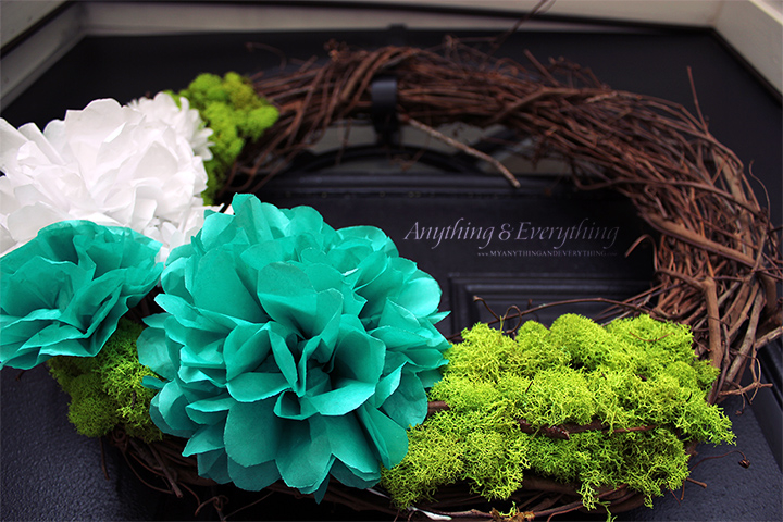 Spring Wreath with moss and Tissue Paper Flowers
