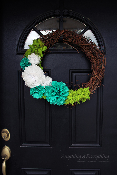 Twig Spring Wreath with Tissue Paper Flowers