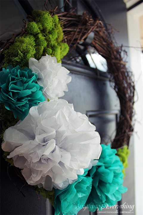 Twig Wreath with Tissue Papaer Flowers