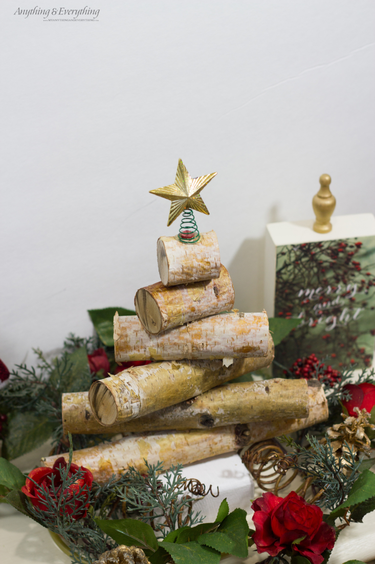 Rustic birch wood holiday tree anything for Wood crafts to make for christmas